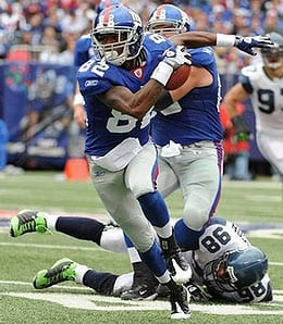 Mario Manningham stepped up for the New York Giants.