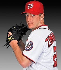 Jordan Zimmermann is dealing for the Washington Nationals.