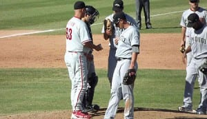 Reading Phillies Manager Dusty Wathan (left) got a chance to manage at the AFL.