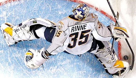 Pekke Rinne wasn't quite as sharp for the Nashville Predators last season.