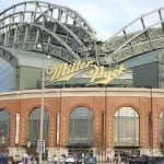 Miller Park features a convertible, fan-shaped roof.