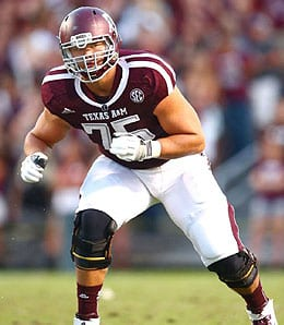 Jake Matthews of the Texas A&M Aggies knows how to protect his QB.