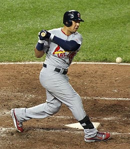 Jon Jay had a 12-game hitting streak for the St. Louis Cardinals.
