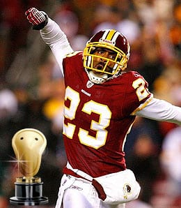 DeAngelo Hall loves pizza for the Washington Redskins.
