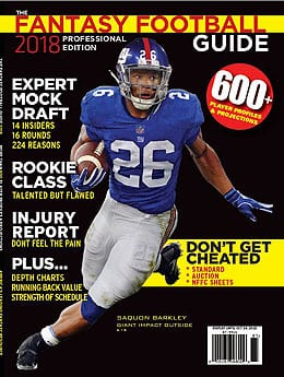Saquon Barkley graces the cover of the 2018 Fantasy Football Guide.